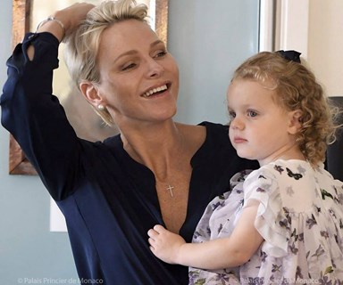 Monaco's petite cuties! Princess Charlene brings Jacques and Gabriella to work