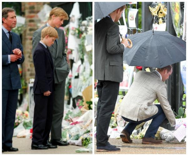 The princes lay flowers in tribute to their beloved mother just as they did at her funeral.