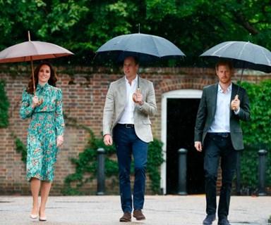 Prince William, Duchess Catherine and Prince Harry visit Princess Diana's memorial
