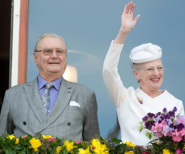 Henrik is pictured with his wife, Margrethe.
