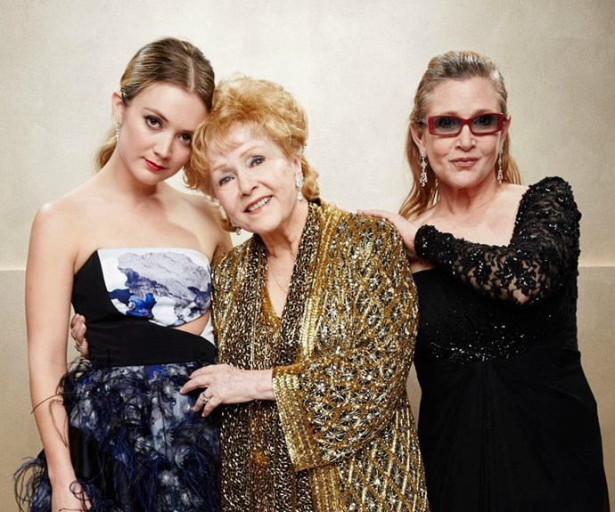 Billie Lourde, Debbie Reynolds and Carrie Fisher