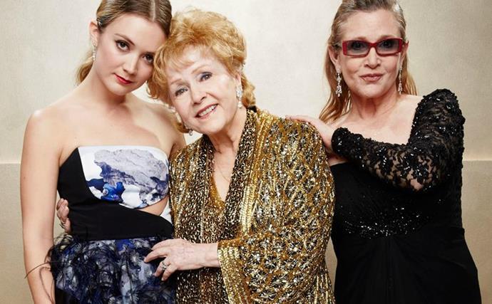 Billie Lourde, Debbie Reynolds and Carrie Fisher