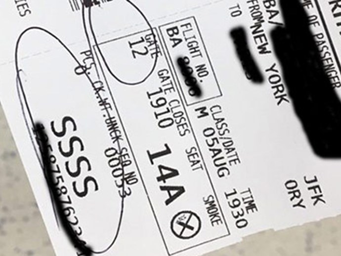 Hope you never have an 'SSSS' on your boarding card