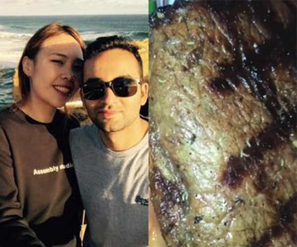 Couple film their 'maggot-infested' steak in Sydney