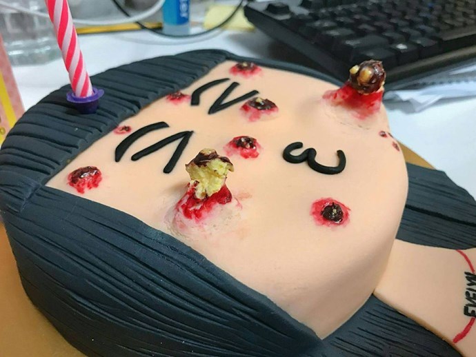 This could be the most disgusting cake ever, but we can't look away