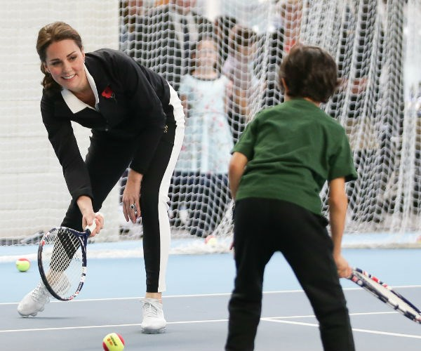 She took part in a Tennis for Kids session - a program designed to encourage children, aged five to eight years old, to play and enjoy tennis.