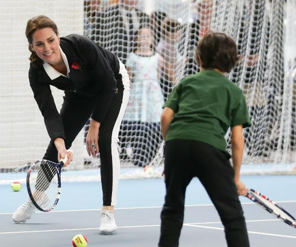 During the event, the Duchess took part in a 'Tennis for Kids' session.
