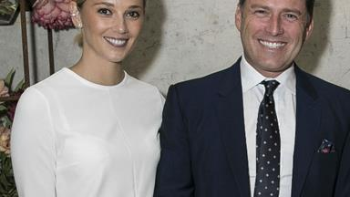 Karl Stefanovic and girlfriend Jasmine Yarbrough are all smiles at the Derby Decadence party