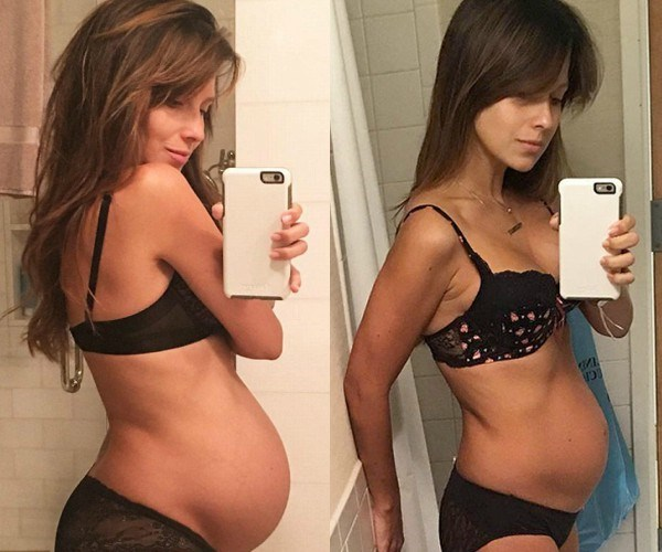 Hilaria two weeks before giving birth (L) and just one day after the birth of her third child (R).