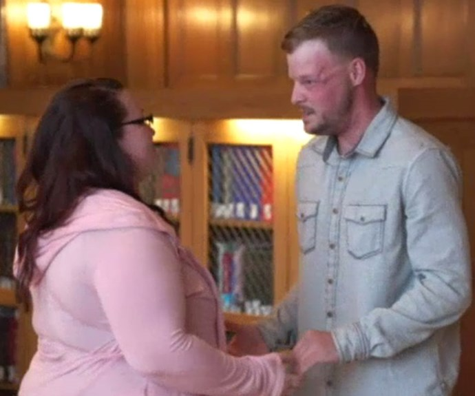 Woman meets man who had face transplant from late husband