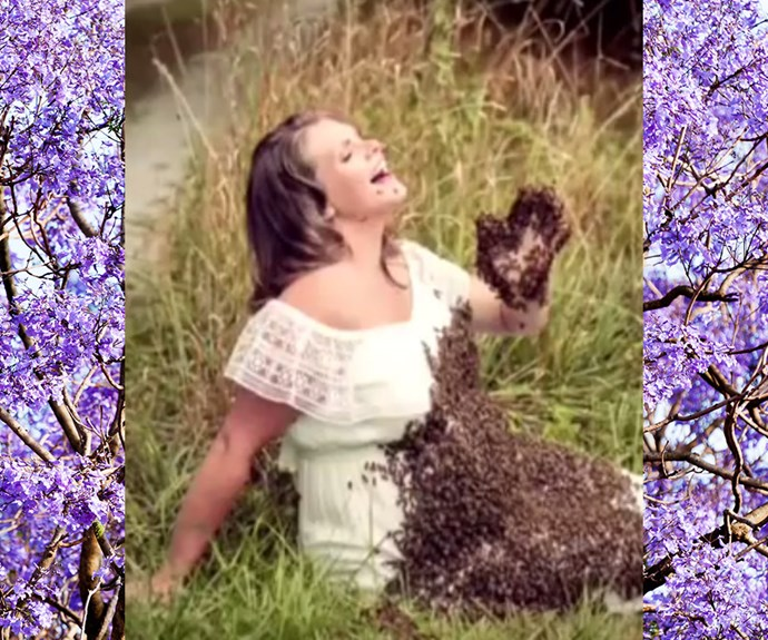 woman covered in bees has a stillbirth