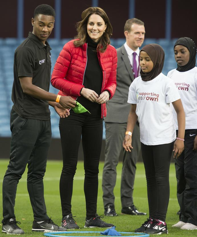 Kate also took part in a on-pitch training session with local kids.