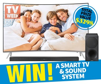 Win a Samsung LED Curved Smart TV and a Curved Sound Bar valued at $3298
