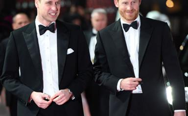 Princes William and Harry put on their finest for the 'Star Wars' premiere in London