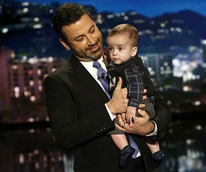 Jimmy Kimmel fights back tears as he brings son Billy on stage after heart surgery