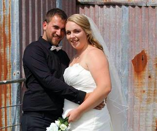 Hannah with Quentin at their wedding