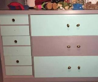 Is this chest of drawers pink and white or blue and grey?