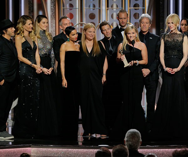 A sea of black on the stage as Reese Witherspoon accepts the award for Best TV Series for Big Little Lies.