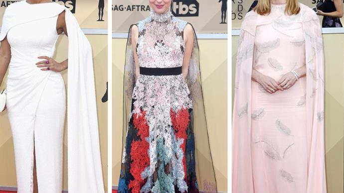 Screen heroines shine in cape gowns and pared-back beauty on the 2018 SAG Awards red carpet