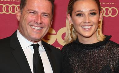 Cheers to the happy couple! Karl Stefanovic and Jasmine Yarbrough all but confirm their engagement