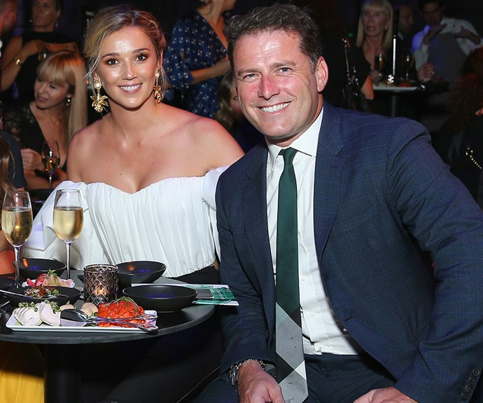 Smitten Karl Stefanovic and Jasmine Yarbrough are loved-up at first official outing since engagement