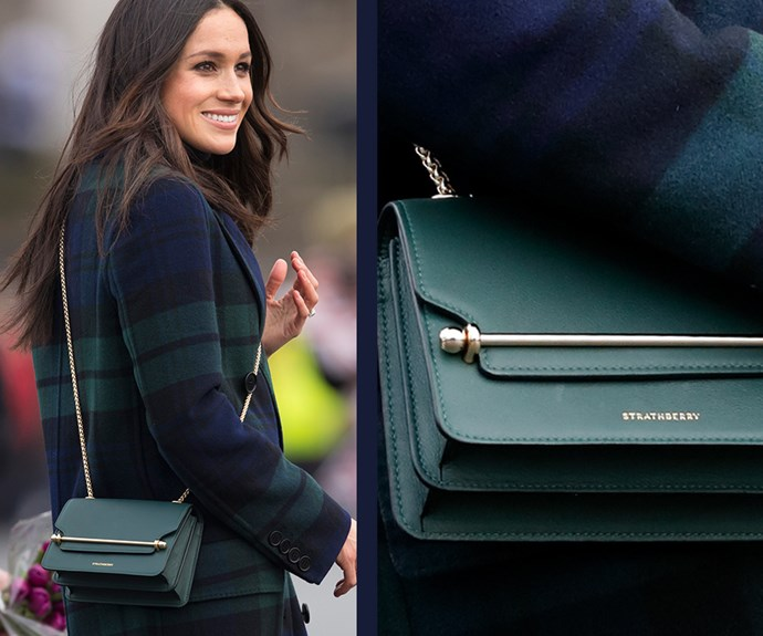 "While visiting Edinburgh, Scotland Meghan gave a subtle nod to the country when she wore a gorgeous tartan Burberry coat and a bottle-green leather handbag from local brand Strathberry, which is now sold out. Shop identical (and more affordable) bags [here!](https://www.nowtolove.com.au/fashion/fashion-trends/where-to-buy-meghan-markles-green-strathberry-handbag-45003|target=""_blank"")"