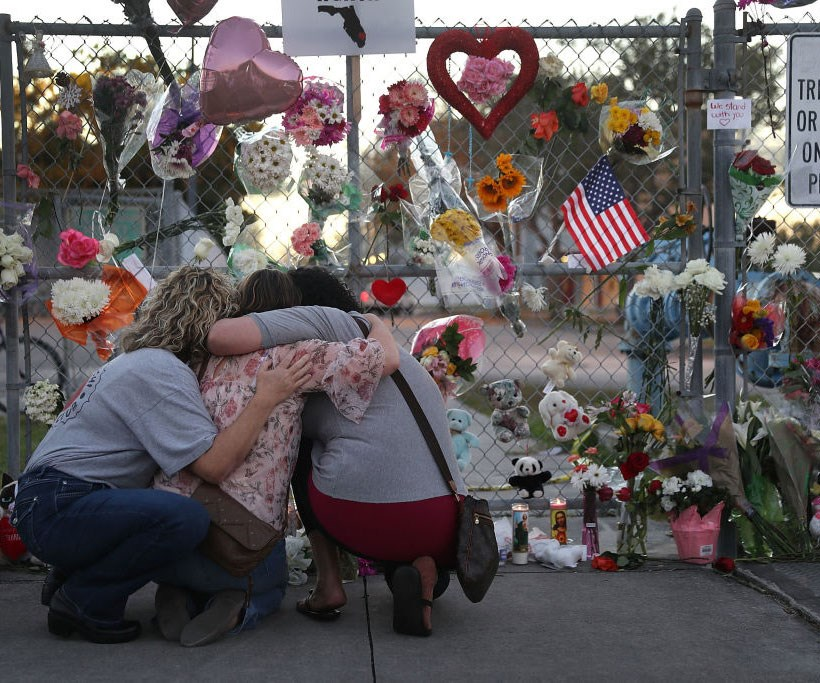 Tributes for the 17 victims of the Marjory Stoneman Douglas High School shooting in Florida .