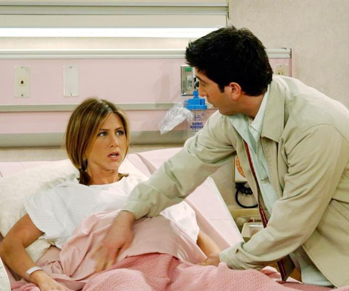 Ross and Rachel give birth on 'Friends.'