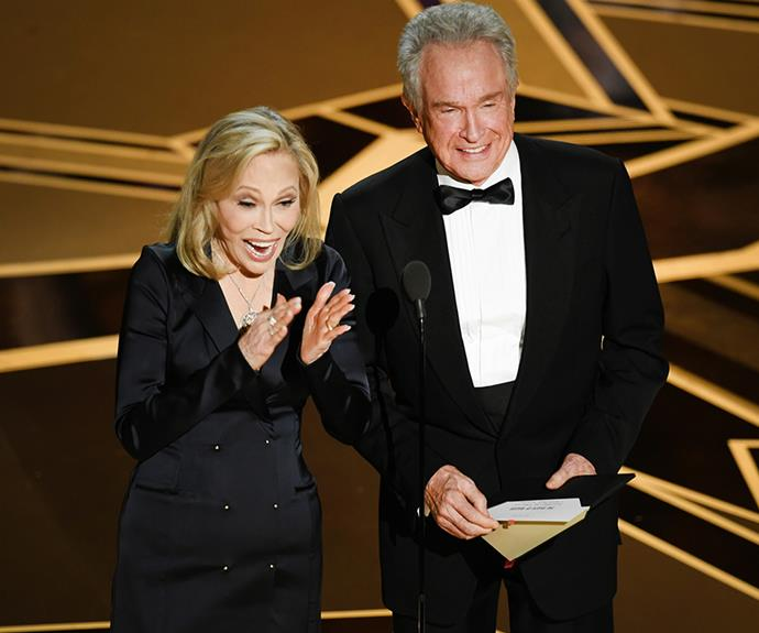 They're back! Warren Beatty and Faye Dunaway were called upon to present the award for best picture as a means of making up for last year's monumental mistake when the wrong picture was read out. And it wasn't. *The Shape of Water* took out this year's top prize.