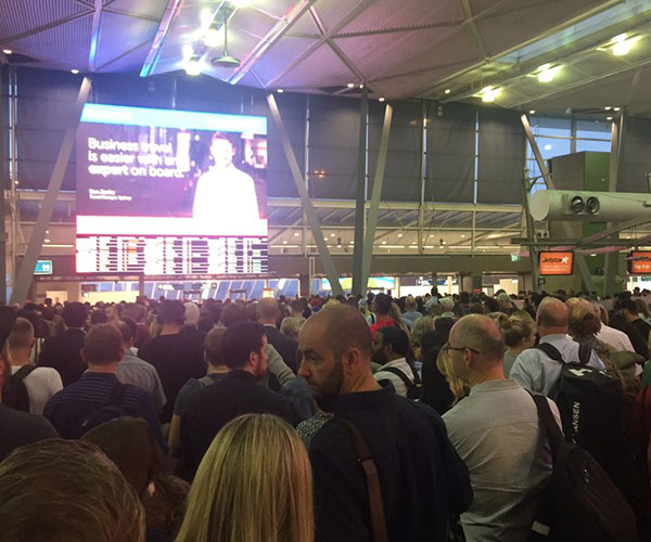 Technical glitch throws airport into chaos