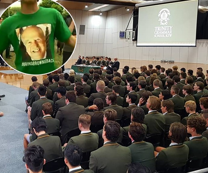 Students of Melbourne Trinity Grammar protest after teacher sacked for cutting a boy's hair