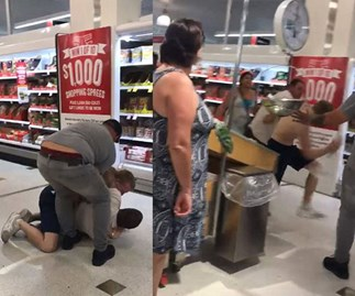 Savage brawl in a Chermside, Brisbane, Coles caught on tape