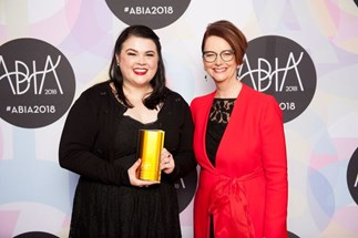 Author of Nevermoor Jessica Townsend who won three awards at this year's ABIAs with Julia Gillard.