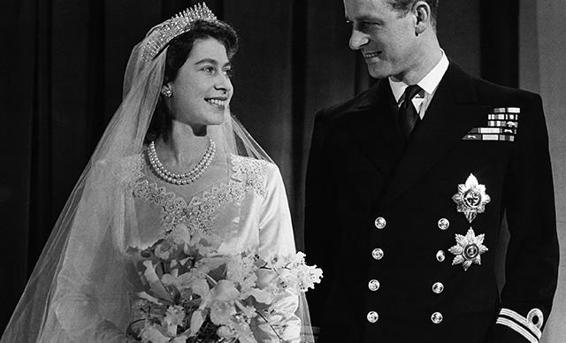 Princess Elizabeth, later Queen Elizabeth II with her husband Philip, Duke of Edinburgh, after their marriage, 1947.