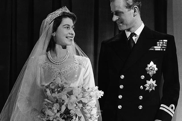 Princess Elizabeth, later Queen Elizabeth II with her husband Philip, Duke of Edinburgh, after their marriage, 1947.