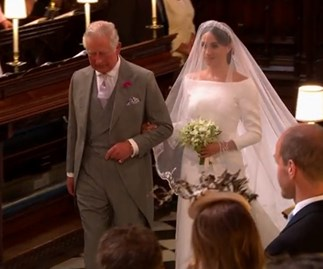 Prince Charles walks Meghan Markle down the aisle at the Royal Wedding, and she looks every part the princess!