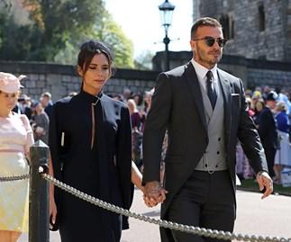 Victoria and David Beckham arrive at the Royal Wedding