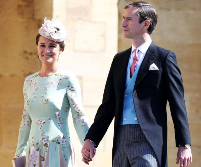 Is that a bump? Pippa and husband James arrive at Prince Harry and Meghan Markle's wedding.
