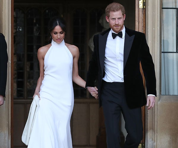 Meghan and Harry leaving for their second, more intimate reception.