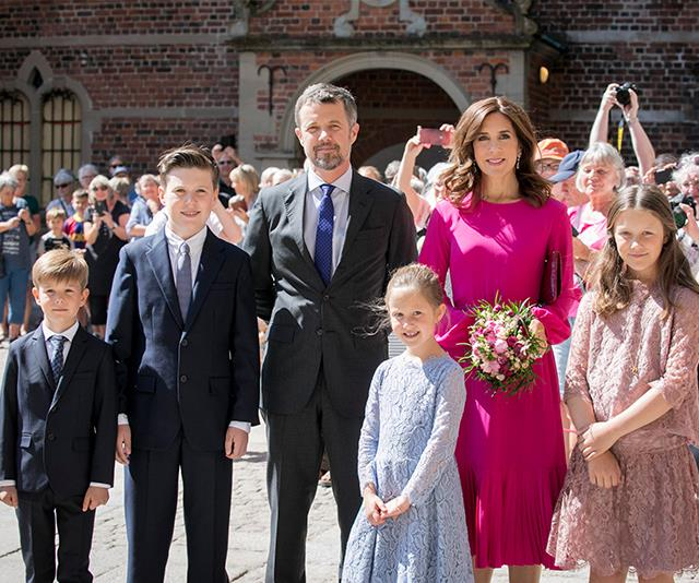 "As part of Crown Prince Frederik's 50th birthday celebrations, [the family stepped out to unveil his official portrait](https://www.nowtolove.com.au/royals/international-royals/princess-mary-danish-royal-family-portrait-prince-frederik-48702|target=""_blank"")."
