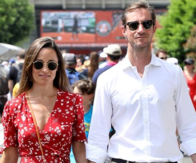 Pregnant Pippa Middleton shows growing baby bump in designer wrap dress at French Open