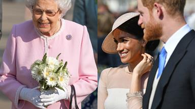 The Queen has a previously unseen photo of Prince Harry and Meghan Markle in her sitting room