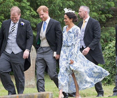 Meghan Markle nearly tripped over at Prince Harry's cousin's wedding after getting stuck in mud
