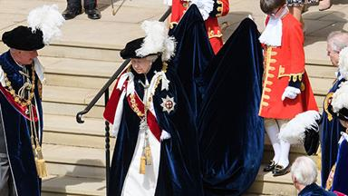 Queen Elizabeth leads the Royal Family at the annual Order of the Garter service