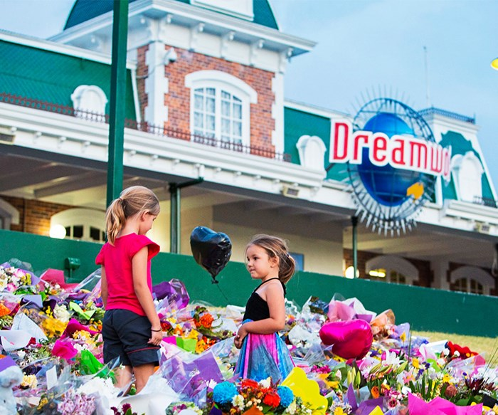Floral tributes covered the entrance to Dreamworld in tribute to the four people killed on the Thunder Rapids ride.