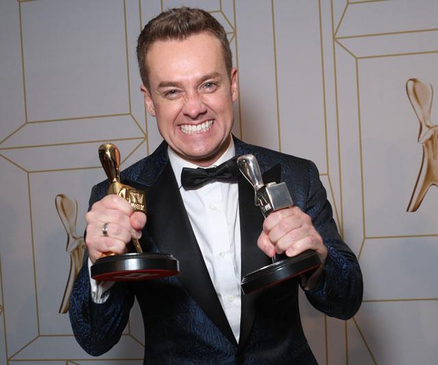 Survey says! Grant scooped up two Logies at the 60th TV WEEK Logie Awards.