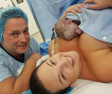 Incredible images: Darwin midwife helps deliver her own son by caesarean