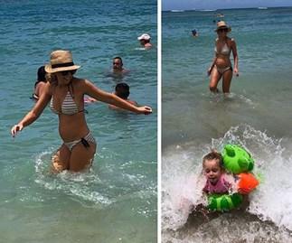 Carrie Bickmore pregnant bikini