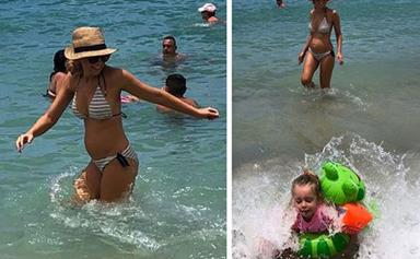 Pregnant Carrie Bickmore's living her best life on holidays