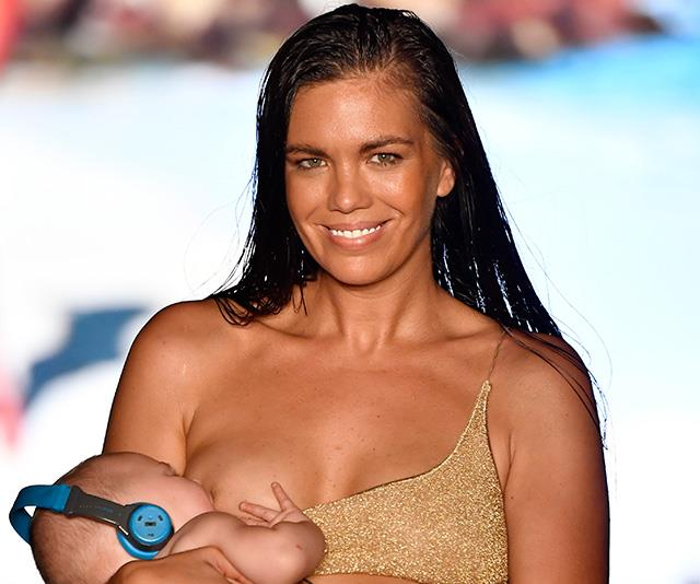 This Sports Illustrated model walked the runway while breastfeeding